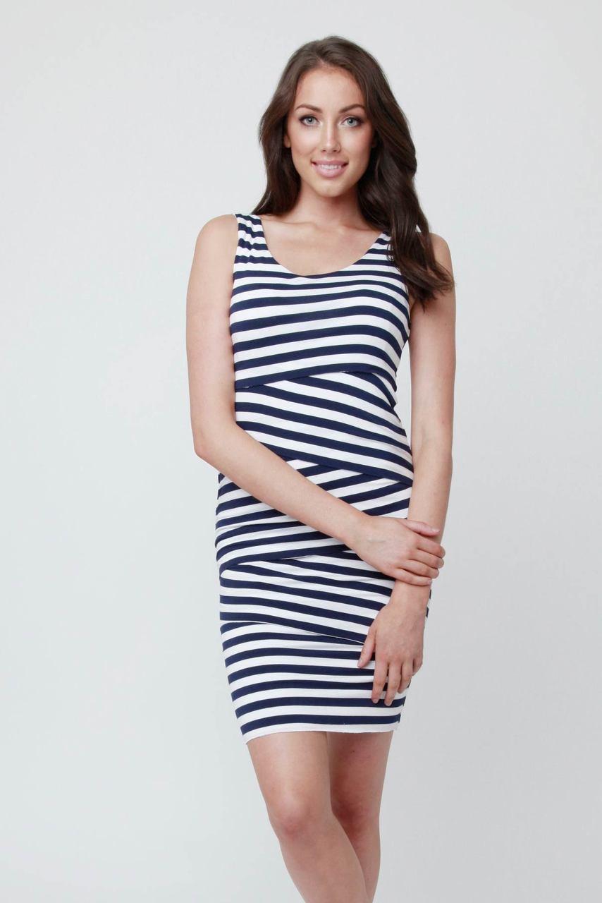 26ae9bfffd32d Ripe Maternity Love Your Body Nursing Dress, Midnight blue and white stripes  - Izzy's Mum