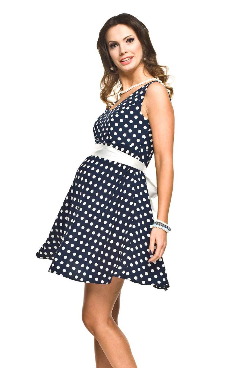 3e7b709069c Torelle Ripi Nursing Dress, Navy Blue with White Dots - Izzy's Mum