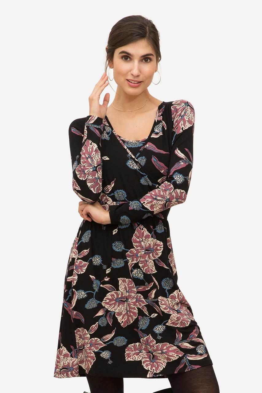 a98920e14160a Milker Nursing Wear Zulu Long-Sleeved Nursing Dress, Black with flower  print - Izzy's Mum