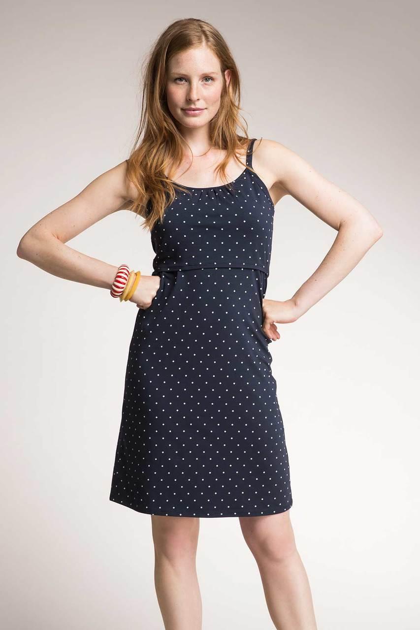 21d0dcd8c2b57 Boob Design Dotted Strap Nursing Dress, Midnight blue with pearl dots -  Izzy's Mum