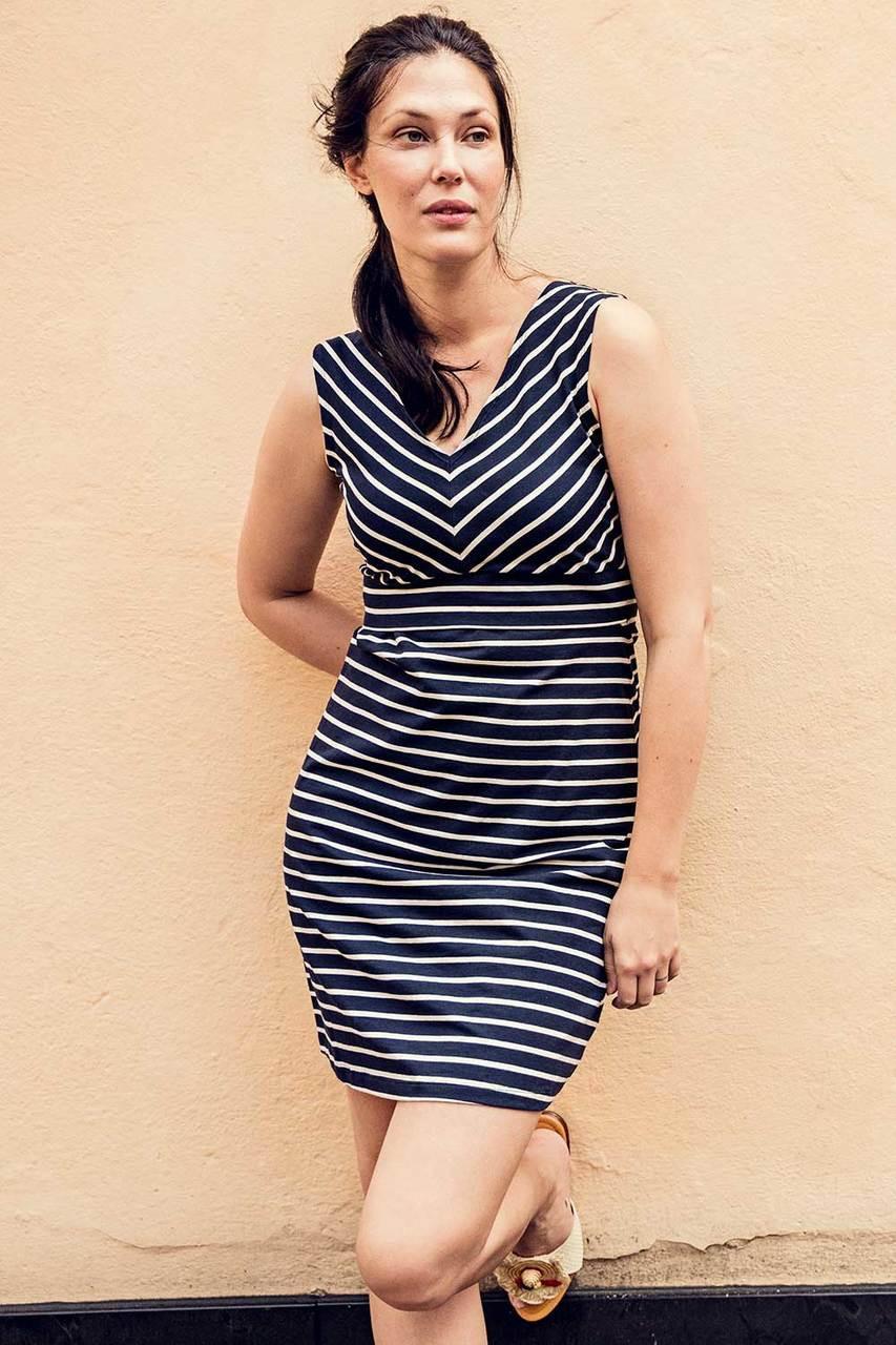 742a5720de248 Boob Design Simone Diagonal-Striped Nursing Dress, Midnight blue and  off-white stripe - Izzy's Mum