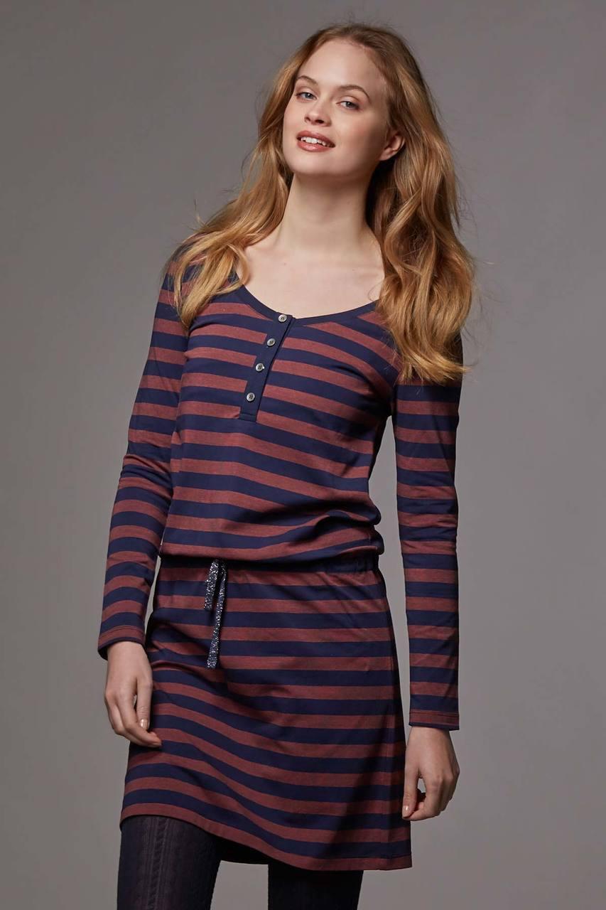 a90f9e1d665a4 Love Milk Hilda Long Sleeved Nursing Dress, Midnight blue & copper stripe -  Izzy's Mum