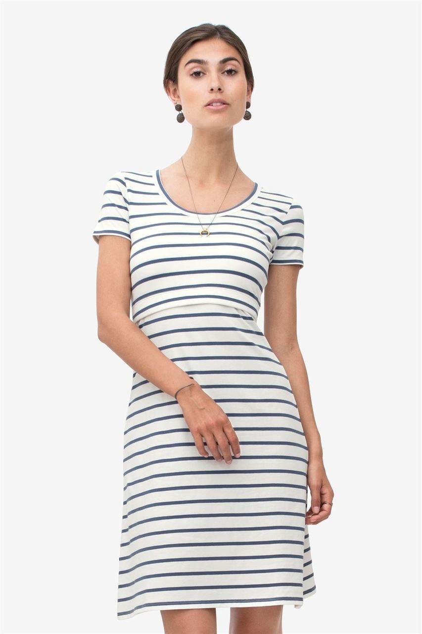 7275137b60615 Milker Nursing Wear Sofia Summer Nursing Dress, White with Blue Stripe -  Izzy's Mum