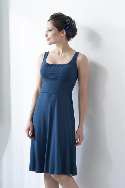 e87103a13f198 Mothers En Vogue Sleeveless Juliet Nursing Dress, Stargaze Blue