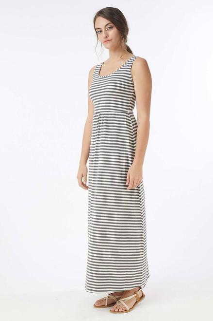 9a8c6a166a Mothers En Vogue Must Have U-Neck Maxi Nursing Dress, White & Grey Stripes