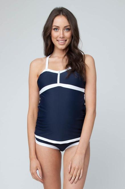 ac288c2ca127e Ripe Maternity Bondi Nursing Tankini Swimsuit, Navy with White Stripe