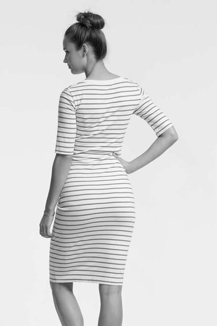 5c5d6d7f8118b ... Boob Design Simone Short Sleeved Nursing Dress, Steel Blue & Off-white  Stripe