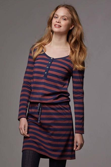 ef851de0fb921 Love Milk Hilda Long Sleeved Nursing Dress, Midnight blue & copper stripe