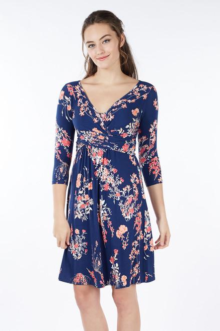 e548d93ede4 Mothers En Vogue Wrap 3 4 Sleeve Nursing Dress