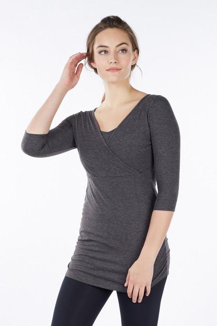 dfc3af7de094b Long-line Side-ruched 3/4-sleeved Nursing Top, Heather Charcoal