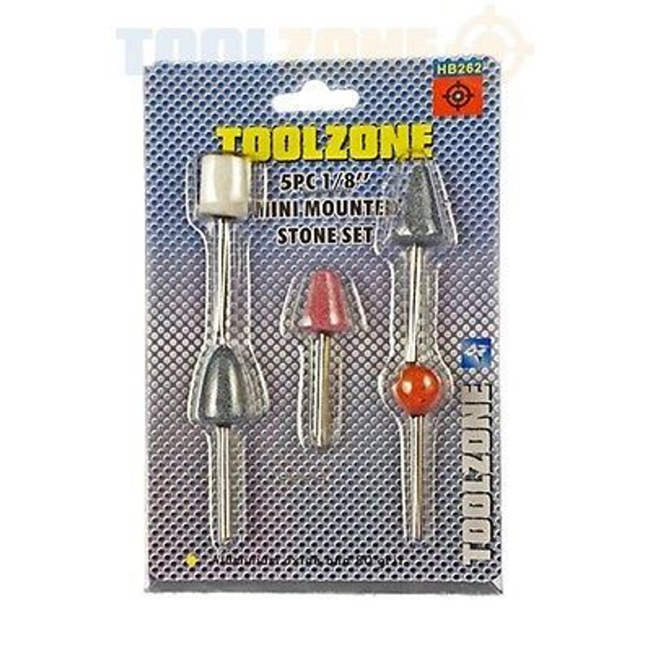 """5pc 1/8"""" Shank Mounted Stone Grinding Polish Set for Die Grinder or Drill HB262"""