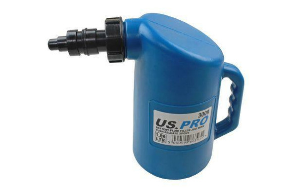 US PRO Tools Battery Fluid Filler Jug With Push Release Spout 1.89 Liters 3009