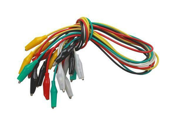 US PRO Tools 10pc Coloured Test Leads With Crocodile Clips 500mm 0.5amp 7033