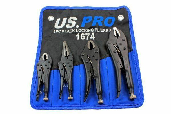 US PRO 4pc Black Locking Pliers Set 5 6.5 7 and 10 - Mole Vice Clamp Grips 1674