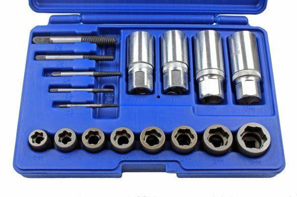 US PRO 17pc Screw, Bolt, Stud and Nut Extractor MIXED Set 2649