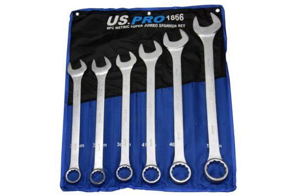 US PRO 6 piece Super Jumbo Combination Spanner Set Wrench 33-50mm 1866
