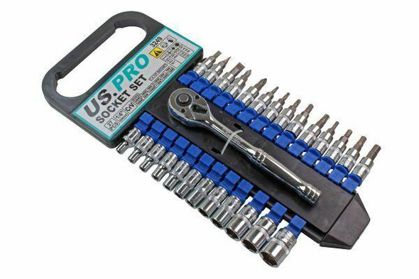 US PRO Tools 27pc 1/4 Dr Metric Socket and Bit Set Hex and Torx 3249