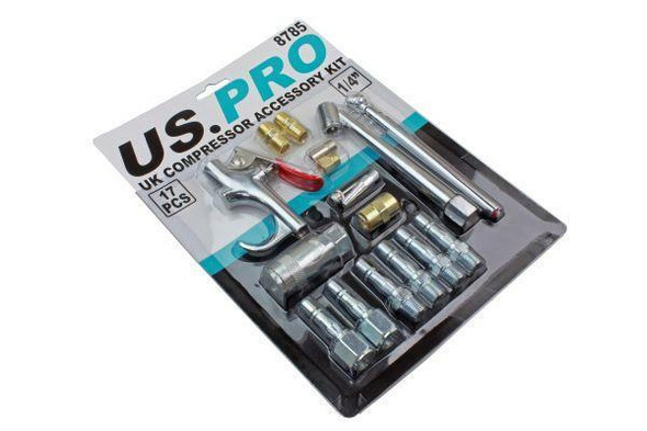 US PRO Tools UK Air Compressor Accessory Kit Blow Gun Airline Ends Tyre Inflator 8785