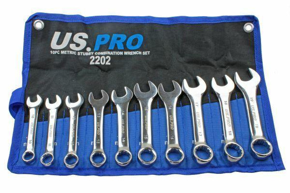 US PRO Tools 10pc Metric Stubby Combination Spanner Wrench Set 10 - 19mm 2202
