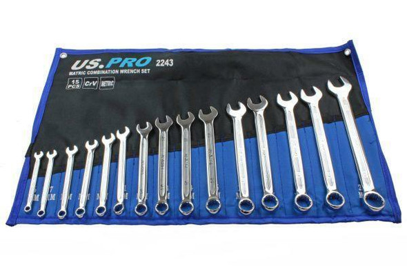 US PRO Tools 15PC Metric Combination Spanner Set 6 - 22MM 2243