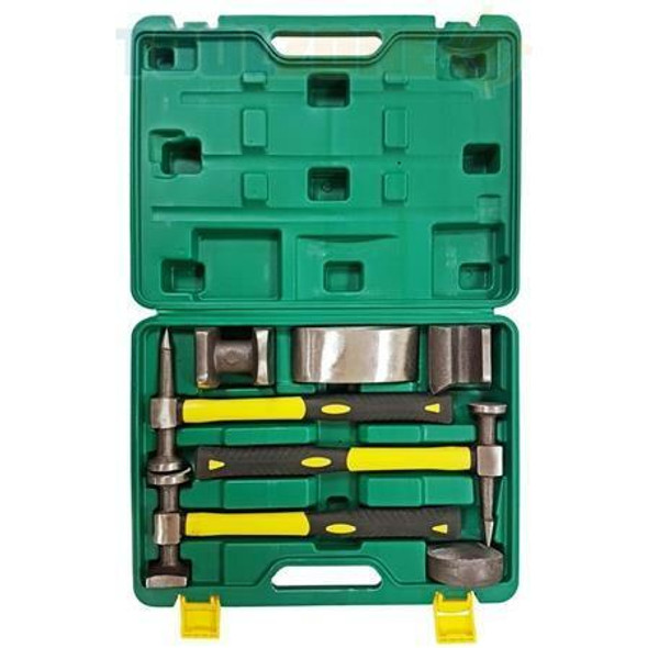 Toolzone 7 Piece Fibre Handle Body Repair Kit Dent Panel Beating Hammer Dolly AU232