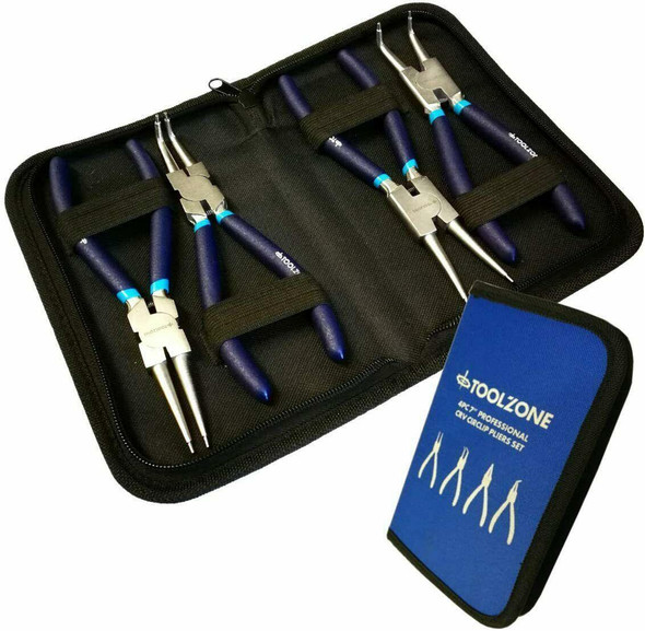 Toolzone 4PC 7 NI-FE Finish Circlip Pliers Set In Zip Case PL138