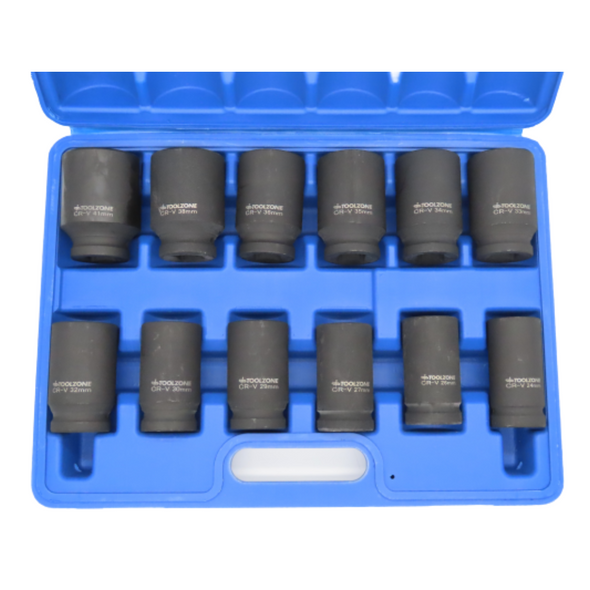 "Toolzone 12pc 3/4"" DR 6 Point Deep Impact Sockets Set 24 - 41mm SS235"