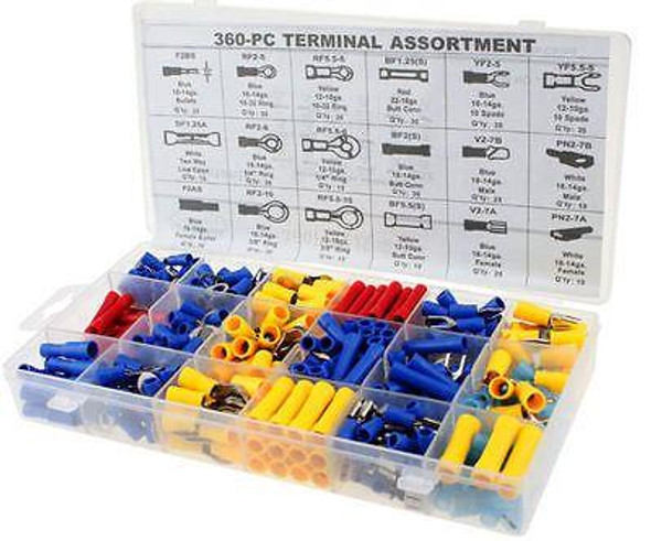360pc Assort Insulated Electrical Wire Terminals Connectors Crimp Spade  PL312