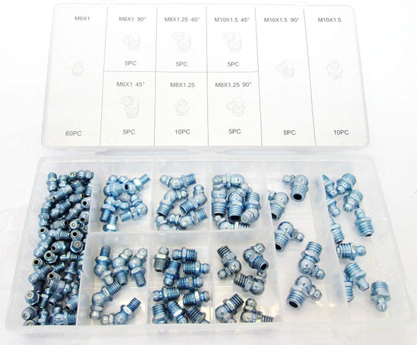 Toolzone 110pc Grease Nipples Assorted Sizes Includes 45 & 90 Degree HW186