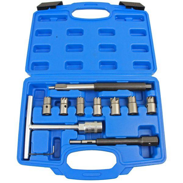 US PRO Tools 10pc Diesel Injector Seat Cutter Tool Cleaner Set Universal Re-Face Score Kit 5598