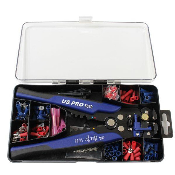 US PRO Tools Auto Wire Stripper, Cutter, Terminal Crimper & Terminal Set 6830
