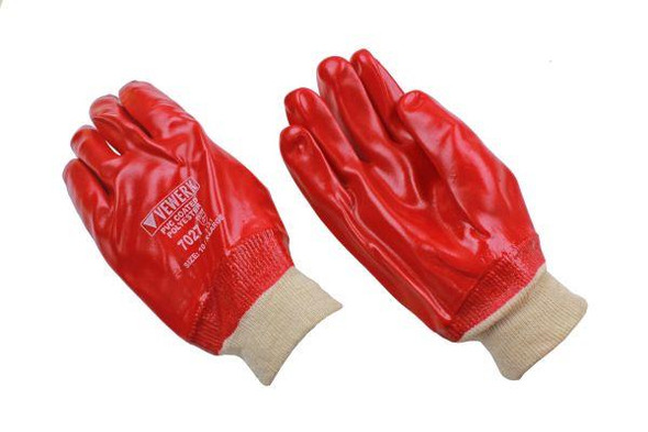 VEWERK 12 Pairs Fully Coated Red PVC Knit Wrist Work Gloves Oil and Water Resistant 7027
