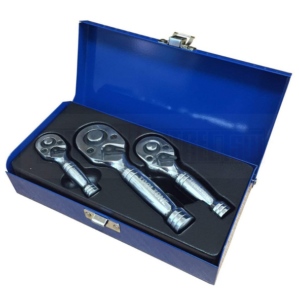 """Toolzone 3pc Professional Stubby Ratchet Set 1/4"""" 3/8"""" 1/2"""" Drive Handle 72 tooth CRV SS015"""