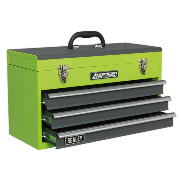 Sealey American Pro Tool Chest 3 Drawer Portable with Ball Bearing Slides - Hi-Vis Green/Grey AP9243BBHV