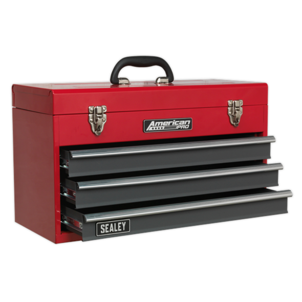 Sealey American Pro Tool Chest 3 Drawer Portable with Ball Bearing Slides - Red/Grey AP9243BB