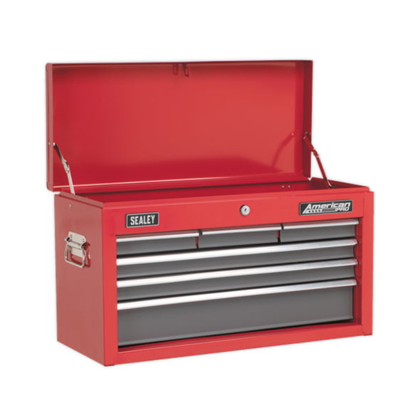 Sealey American Pro Topchest 6 Drawer with Ball-Bearing Slides - Red/Grey AP2201BB