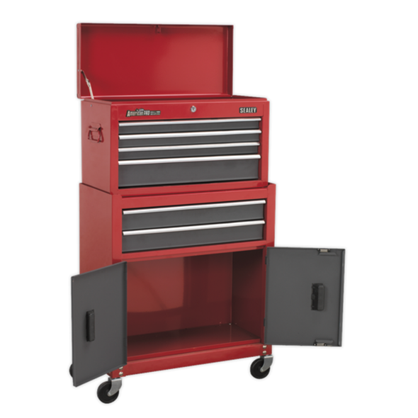 Sealey American Pro Topchest & Rollcab Combination 6 Drawer with Ball-Bearing Slides - Red/Grey AP2200BB