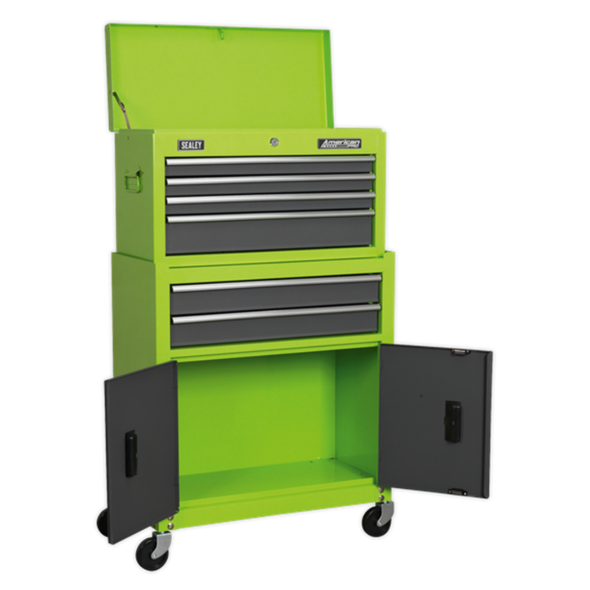 Sealey American Pro Topchest & Rollcab Combination 6 Drawer with Ball-Bearing Slides - Hi-Vis Green/Grey AP2200BBHV