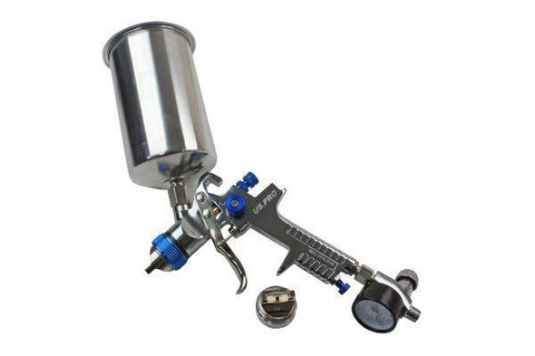 US PRO HVLP Spray Gun With Regulator and 2 Nozzels 1.4 and 2.0mm 1000ml Cup 8776