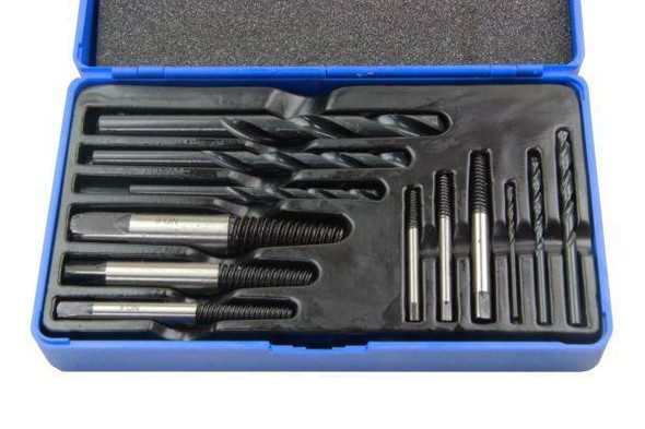 US PRO 12PC Damaged, Chewed Stripped Screw and Bolt Extractor and Drill Bit Set 2601