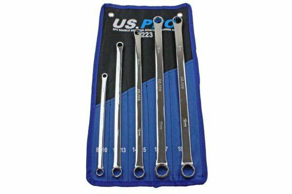 US PRO 5pc Aviation Double Ended Ring Extra Long Spanner Set 8 - 19mm 3223