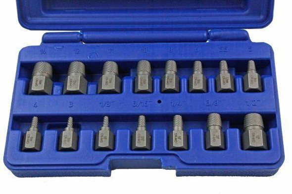 US PRO 15PC Heavy Duty Screw And Stud Extractor Set - Removes Broken Studs and Screws 2637