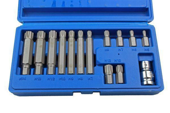 US PRO Tools 14pc 1/2 DR Ribe Socket Bit Set M5 - M14 With Adapter 2238