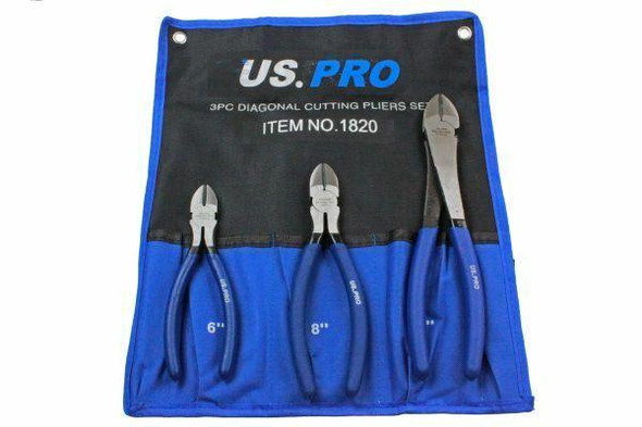 US PRO 3pc Diagonal Side Cutting Plier Set 6, 8, 10 1820