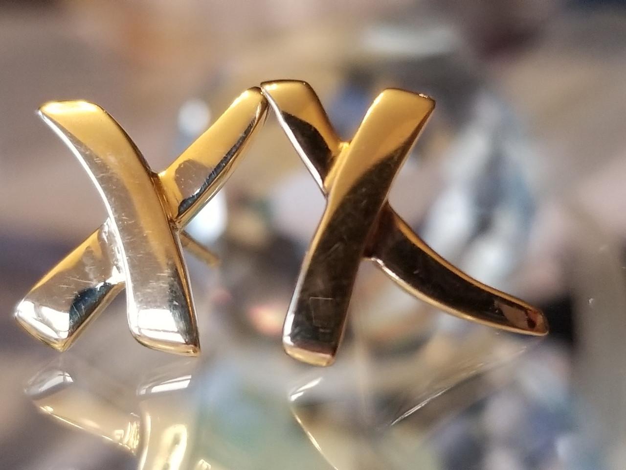 303632827 Tiffany & Co. Paloma Picasso 18K Yellow Gold X Earrings Pierced Earring