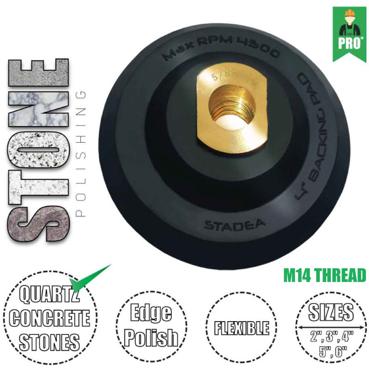 """Stadea 5 inch Rubber Backing Pad Flexible Backer Pad with Backing 5//8/"""" 11"""