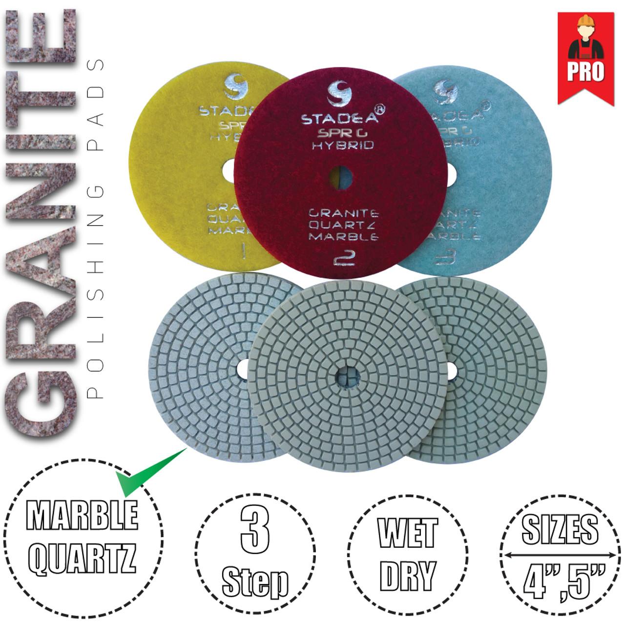 Diamond Wet 7-Step Polishing Sanding Grinding Pads 7 Pcs Set for Granite Marb...