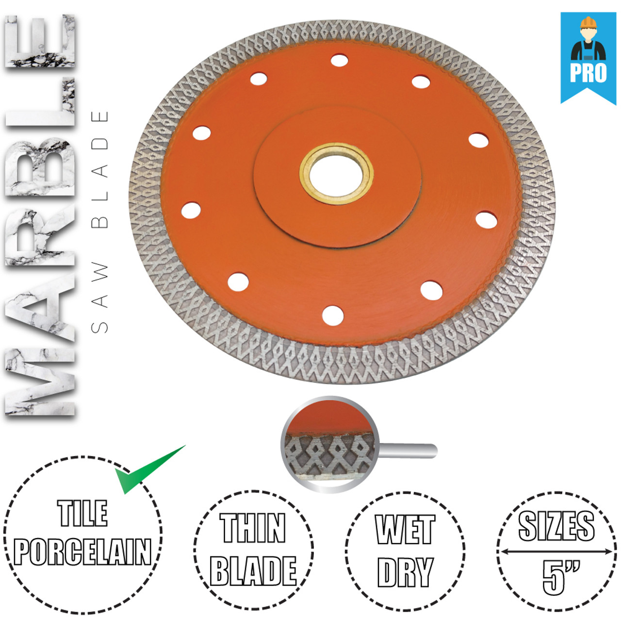 Stadea Diamond Saw Blade 5-Inch Continuous Turbo For Grinder Granite Dry Cutting