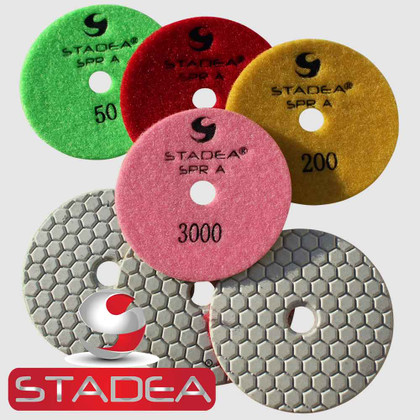 Stadea Dry Diamond Polishing Pads 4 Inch Set For Granite Concrete Marble Stone Glass Polishing (Series Super A)