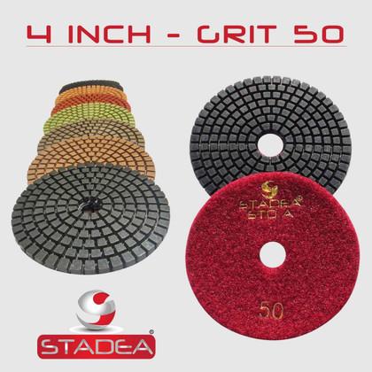 "STADEA STD A 4"" Diamond Polishing Pads 10 Pcs: Grit 50 100 200 400 800 1500 3000 Buff"